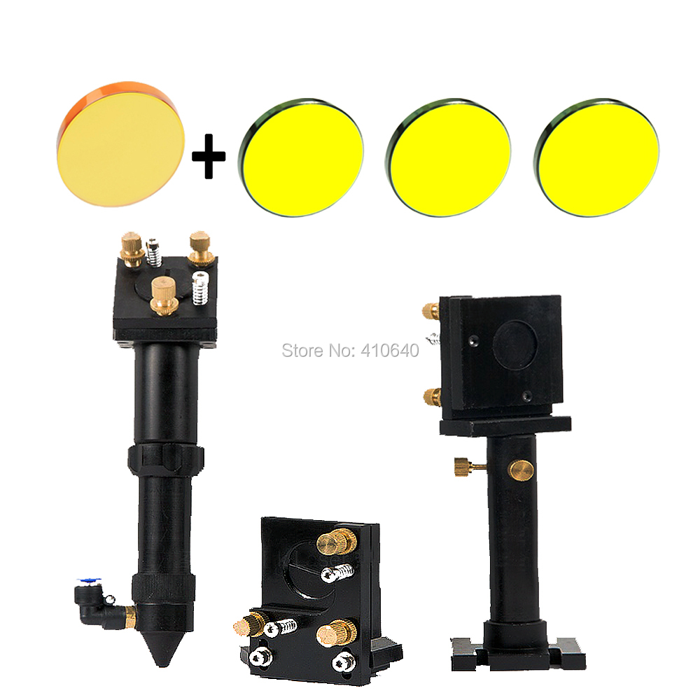 Full Set of Laser Head Laser Len Support Laser Reflection Mirror Holder with 3 Reflective Mirror and 1 Focus Len Co2 Laser Head