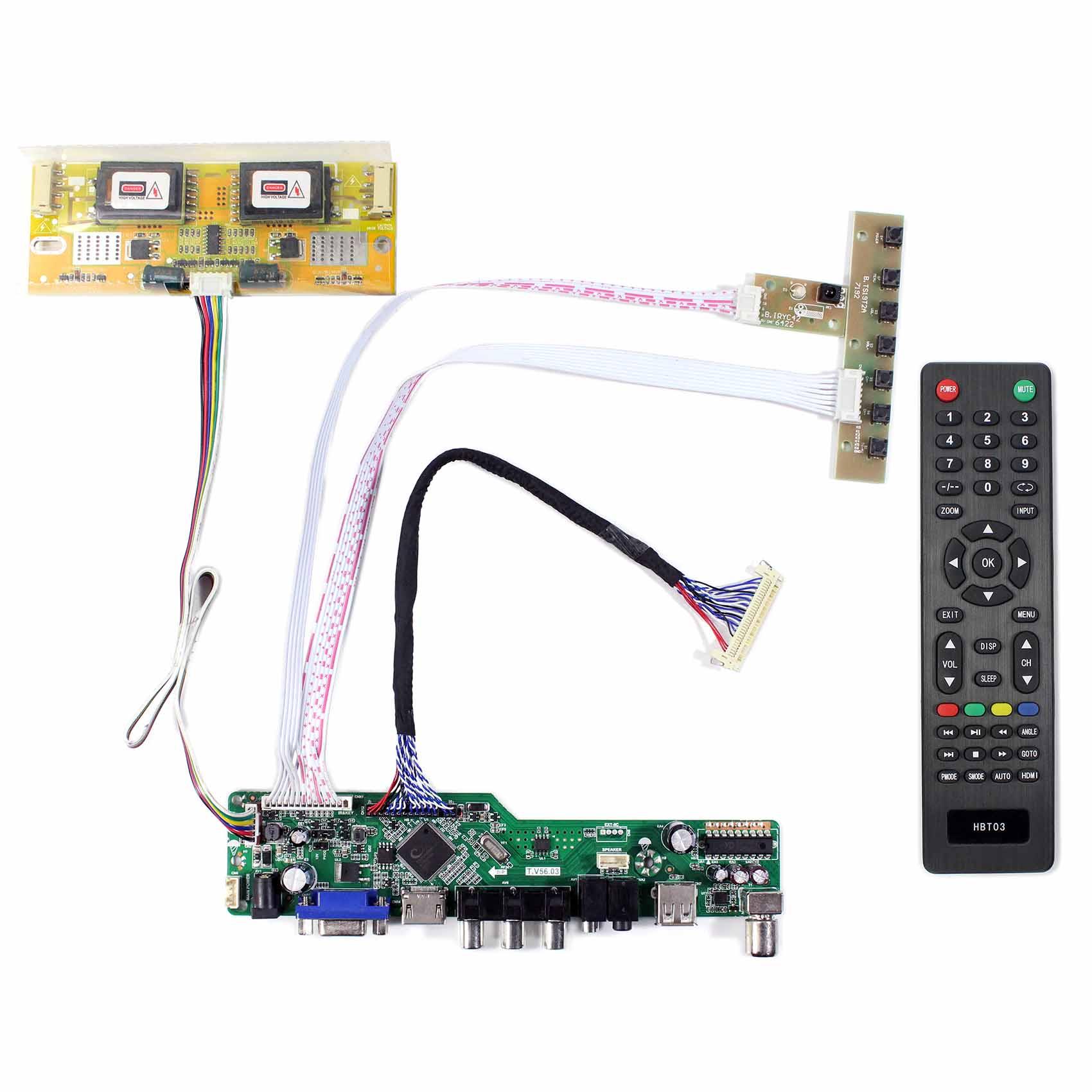 HDMI VGA LCD Controller Board USB Support Video 1280x1024 M170EN06 4CCFL Inverter Board M170EN05 for 17inch LCD ScreenHDMI VGA LCD Controller Board USB Support Video 1280x1024 M170EN06 4CCFL Inverter Board M170EN05 for 17inch LCD Screen
