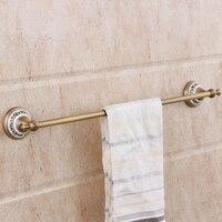 Antique Brass Oil Rubbed Finish Towel Bar Hanging Porcelain Towel Rack Rod Single Bar Pendant 60cm