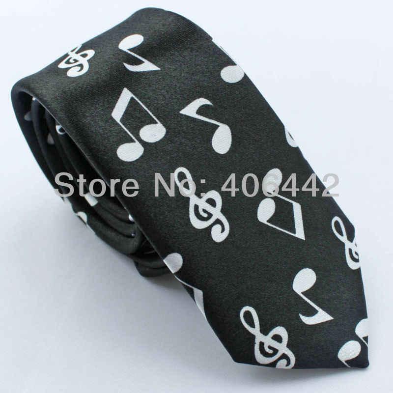 """2 PCS dari 2 """"poli Hitam/Putih dan Navy/Emas Musik Notasi polyester SLIM SEMPIT KURUS dasi Mode Dasi untuk mencocokkan gaun shirts"""