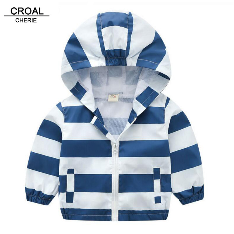 CROAL CHERIE 90-130cm Baby Boy Spring Jackets New Brand Children Hooded Outerwear & Coats Spring Kids Striped Clothes пуховик для мальчиков brand new 110 150 drop boy outerwear page 3