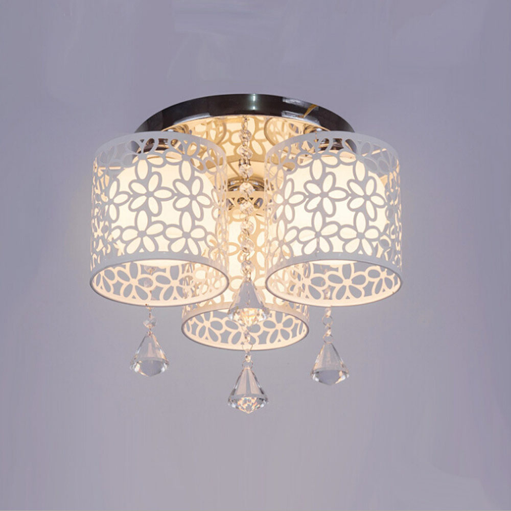 Modern Crystal Ceiling Lamp 110v 220v Home Lighting Living Room Led Lights E27 Hollow Flowers Round Fixtures In From