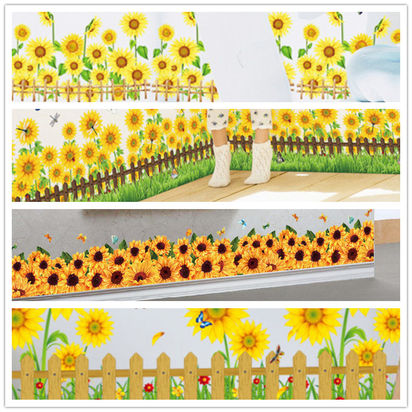 Garden Sunflower Wall Sticker Beautiful Scenery Wall Decal ...