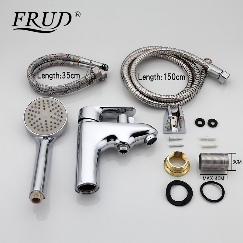 Image 2 - Frud 1set bathroom fixture Zinc alloy faucets with hand shower head toilet water basin sink tap bath sink faucet water mixer-in Basin Faucets from Home Improvement