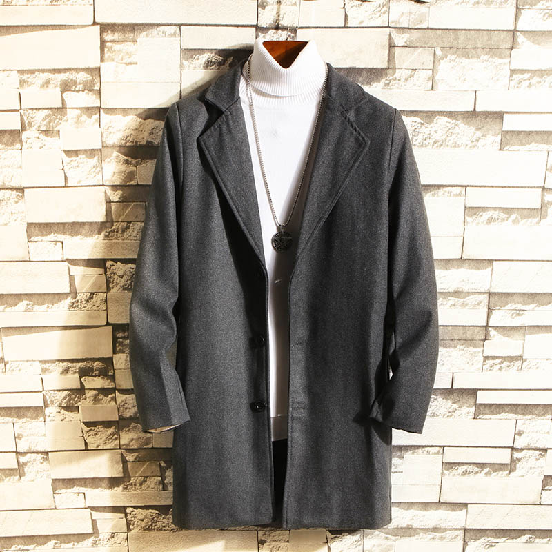 Men 2019 autumn and winter new woolen coat solid color fashion single-breasted windproof men casual coat(China)