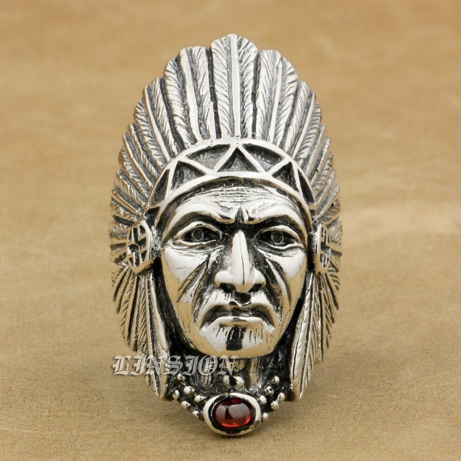 Indian Chief Red CZ Mens 925 Sterling Silver Biker Rocker Punk Ring 9T007 US Size 8 to 15
