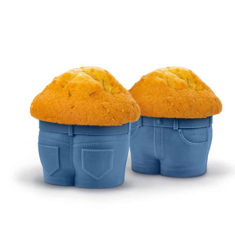 Copa Muffin novedad vaqueros forma Muffin casos de repostería de silicona molde titular piezas repostería herramientas para hornear de forma