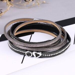 Женский браслет HOCOLE, многослойный Магнитный кожаный браслет ручной работы со стразами
