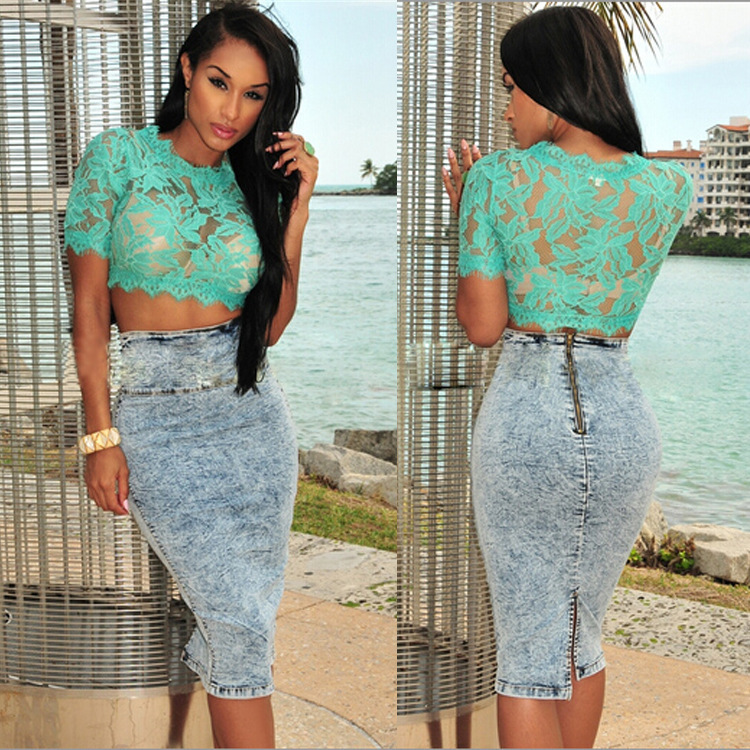 5104f7911b9 2015 New Fashion Sexy Women Crop Tops Short Sleeves Lace Floral Pattern  Blusa Feminina Gorgeous Tops-in T-Shirts from Women s Clothing on  Aliexpress.com ...