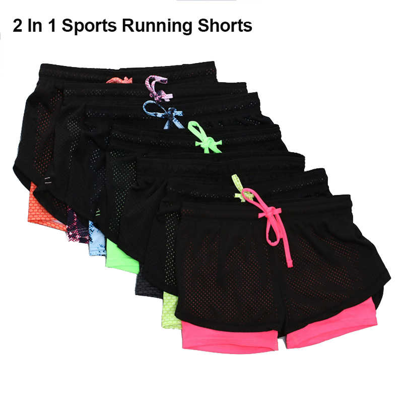 Running Sport szorty dla kobiet szybkoschnący oddychające Running rajstopy damskie Gym Sport Fitness krótki Running Femme 2 w 1