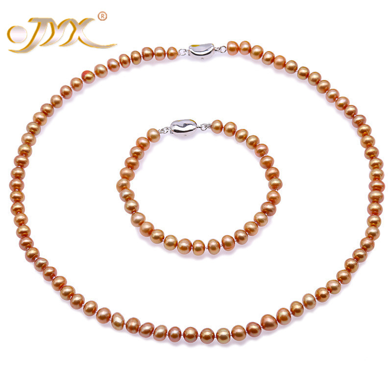 JYX high quality Pearl Necklace set 7 8mm Dark Golden natural Freshwater Pearl Necklace Bracelet Jewelry