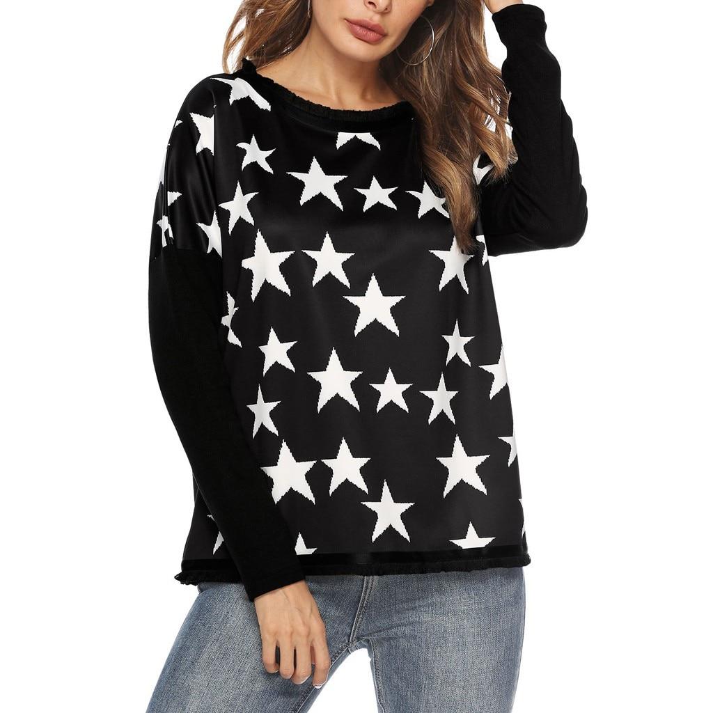 long sleeve shirt women plus size for Women's Plus Size Star Print Shirt Long Sleeve Round Neck Top camiseta mujer #6