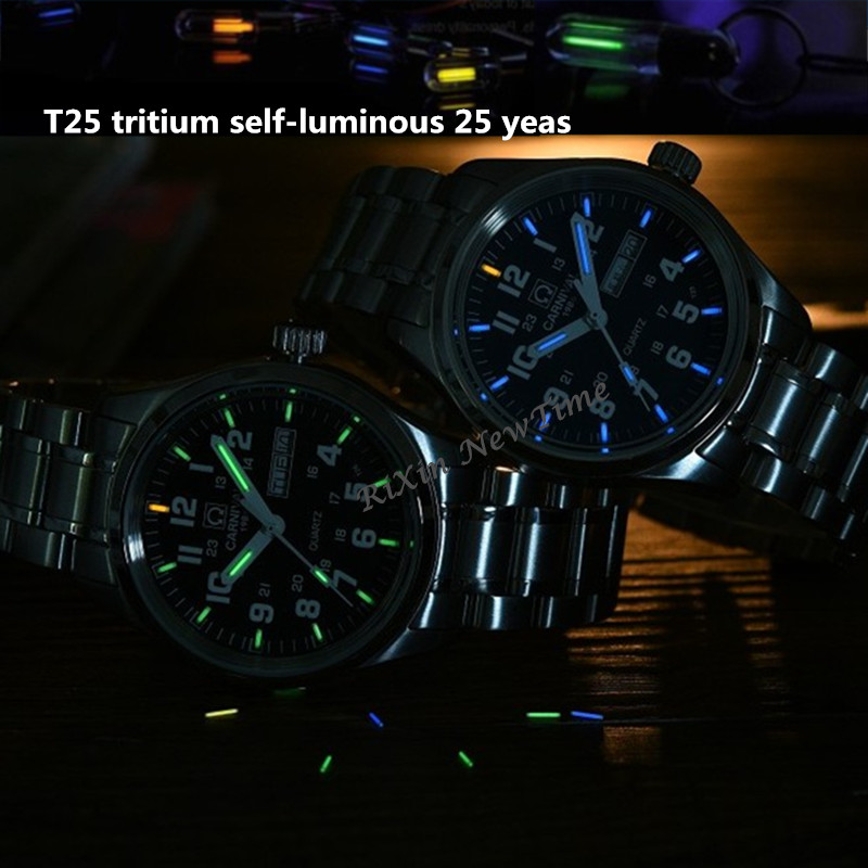 Carnival Tritium Light men Watch Quartz Double calendar Date Tritium Luminous Waterproof 200M Military diving Watches sapphire - 2