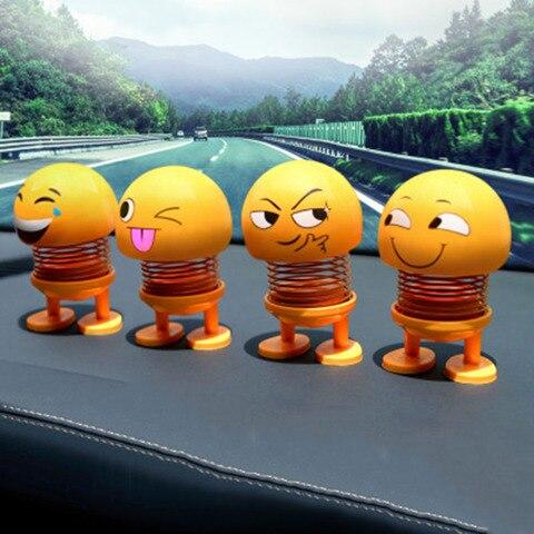 Car Ornaments Smiley Shaking Head Dolls Cute Cartoon Funny Emoji Wobble Head Robot Dashboard Car decorations Car accessories Pakistan