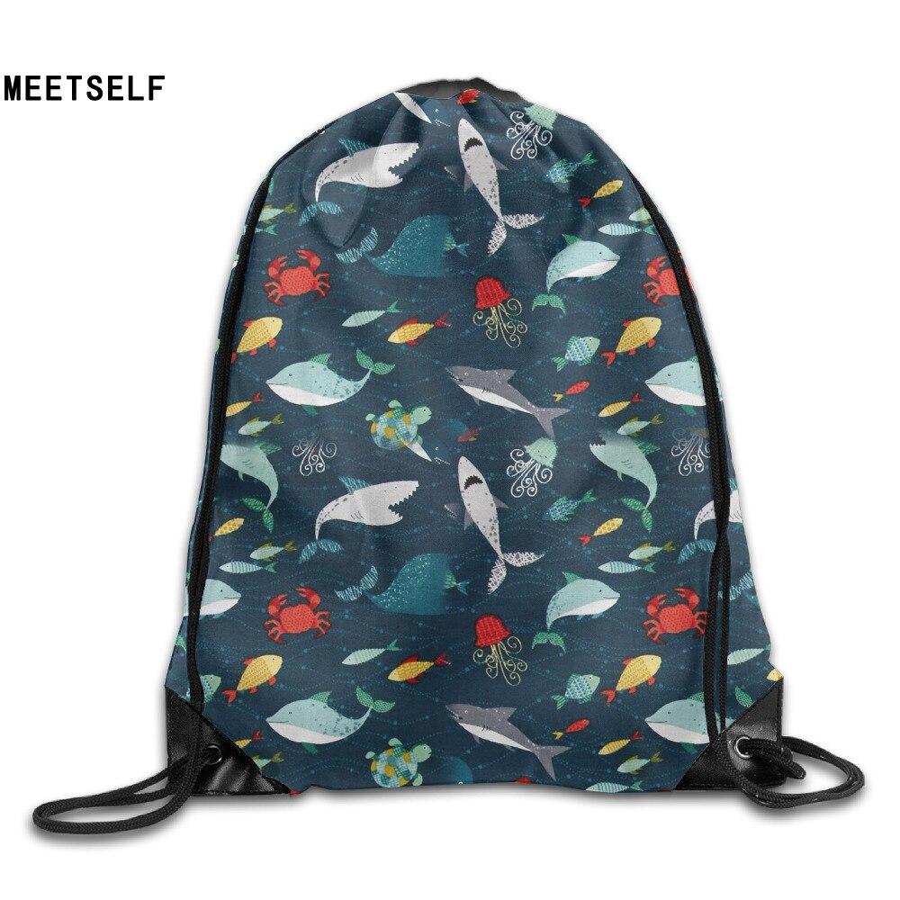 Samcustom 3d Print Bottom Of The Sea Shark Shoulders Bag Women Fabric Backpack Girls Beam Port Drawstring  Dust Storage Bags