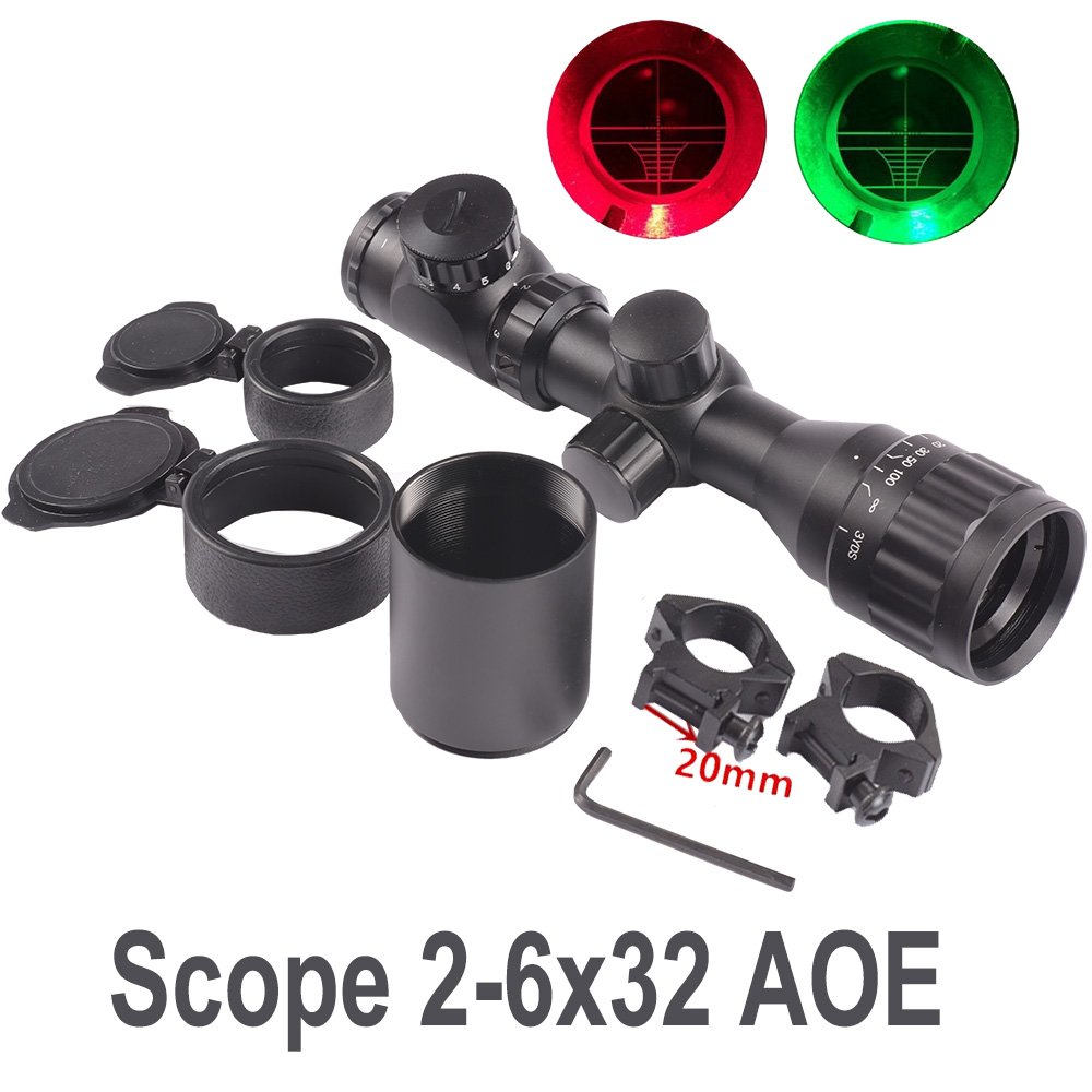 Tactical Reflex Riflescope 2-6x32 Optical Sight Red Green Range finder Air Rifle Scope 20mm Picatinny Rail Mount Hunting CazaTactical Reflex Riflescope 2-6x32 Optical Sight Red Green Range finder Air Rifle Scope 20mm Picatinny Rail Mount Hunting Caza