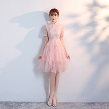 Short Sleeve Qipao Dress Vintage Restoring Cheongsam Dress Chinese Traditional Dress Midi Wedding Party Bridesmaid Dresses