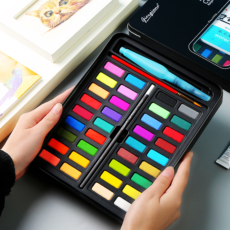 36Colors Powder Solid Watercolor Paint Set With Paint Brush Bright Color Portable Watercolor Pigment Powder Art Supplies36Colors Powder Solid Watercolor Paint Set With Paint Brush Bright Color Portable Watercolor Pigment Powder Art Supplies