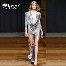 Gosexy 2019 New Women Sexy Silver Sequins Robes Long Sleeve Bow Floor-Length Long Dress V-Neck Lady Fashion Elegant Party Dress(China)