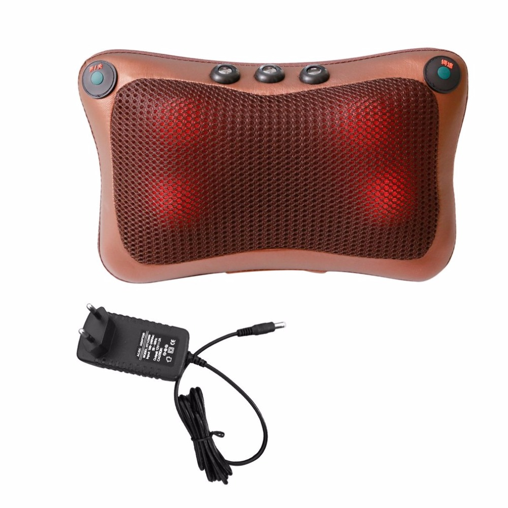 Professional Double Keys 4 Heads Magnetic Therapy Electronic Neck Waist Massager Car Home Office Massage Pillow Cushion lenwave 1500 magnetic therapy thin waist aerobic exercise twist board orange white grey