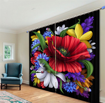 Beautiful Bouquet Mordern 3D Blackout Window Curtains For Living room Bedding room Hotel/Office Curtain Drapes Cortinas para sal