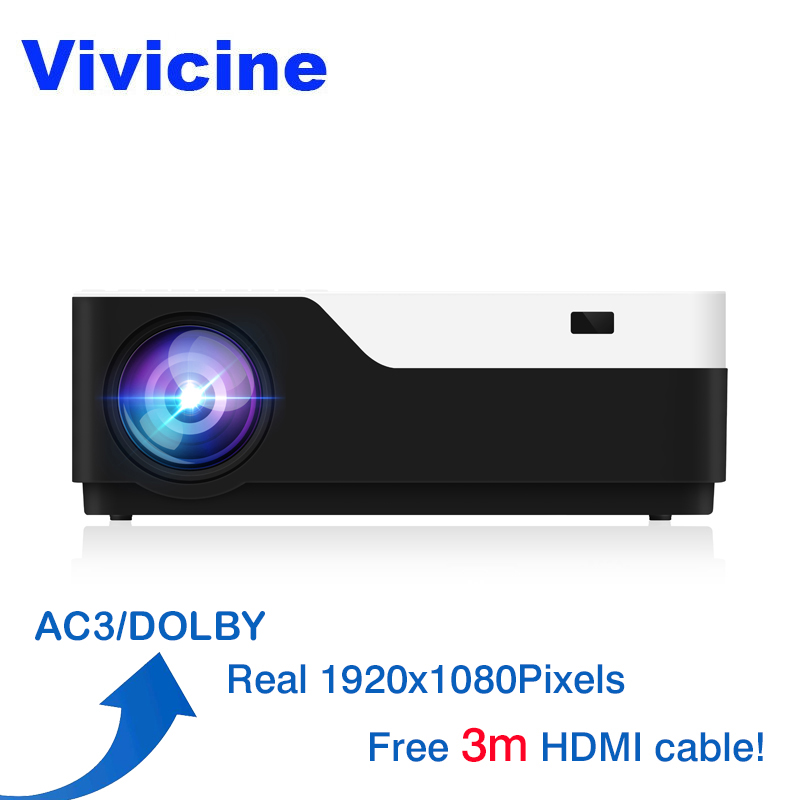 Vivicine M18 1920X1080 Real Full HD Projector, HDMI USB PC 1080p LED Home Multimedia Video Game Projector Proyector Support AC3(China)