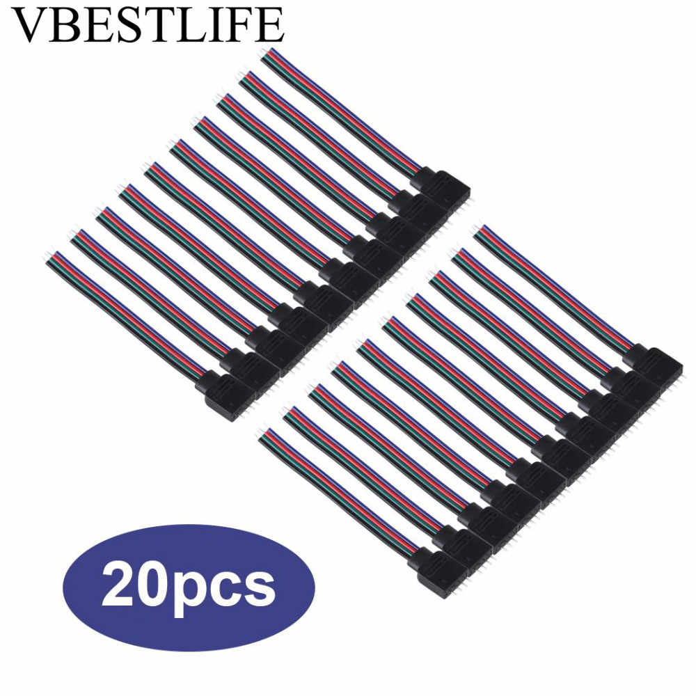 20 штук 4-контактный кабель провода коннектора мужской женский разъем для 5050/3528/3014 RGB Светодиодные ленты огни 10 см Длина