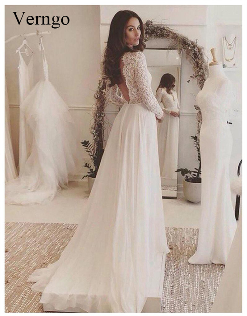 Verngo white boho wedding dress 2019 Long Sleeve Custom designs wedding gown Lace Tulle A line vestido de novia