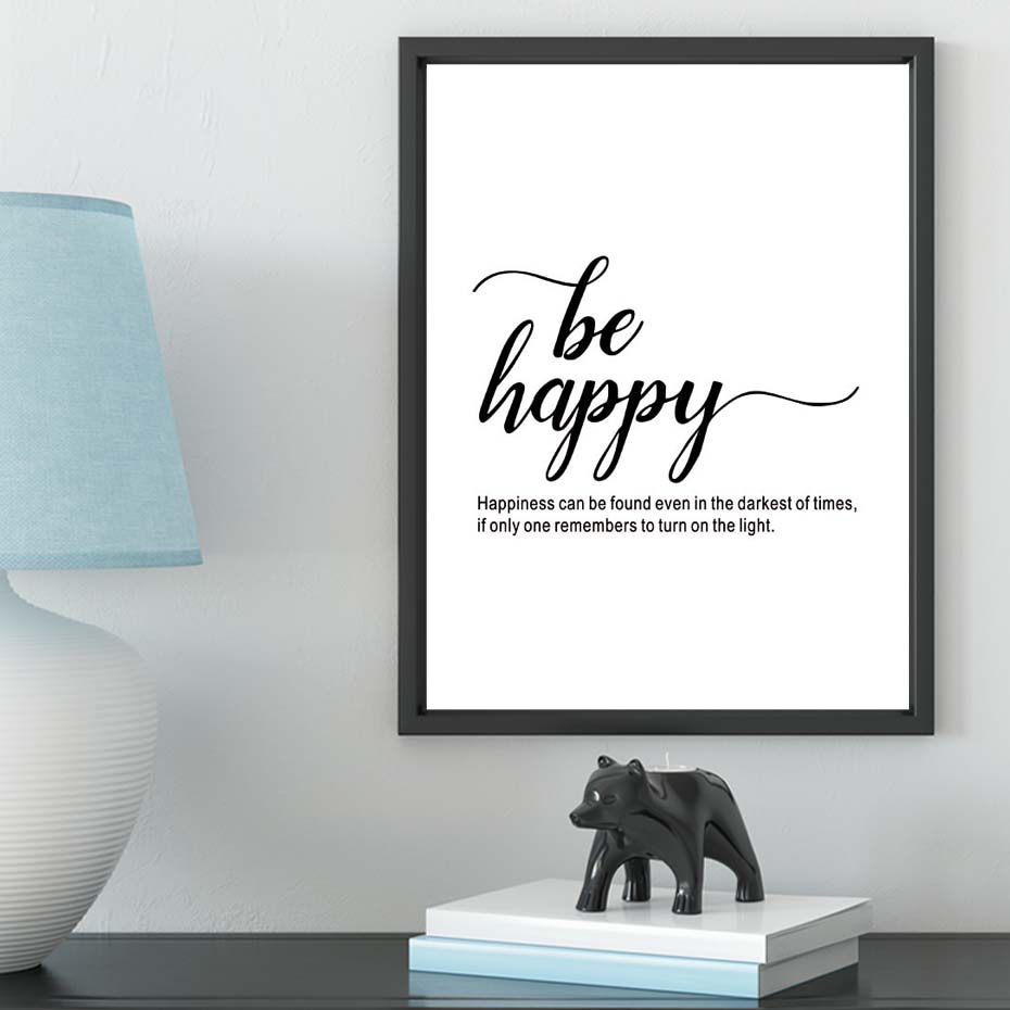 Nordic Poster Kids Room Nordic Style Kids Decoration Wall Art Canvas Painting Be Happy Wall Pictures For Living Room Unframed (2)