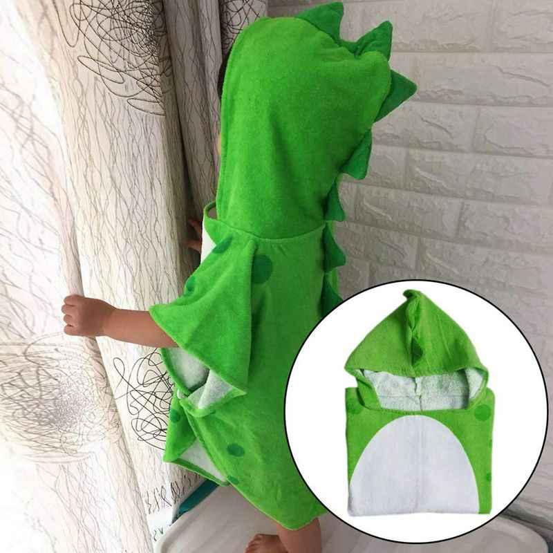 Telo da bagno per bambini Accappatoio Con Cappuccio Per Bambini Spiaggia di Nuoto Poncho Modello di Dinosauro (Verde + Bianco 55 Cm x 110 Cm)