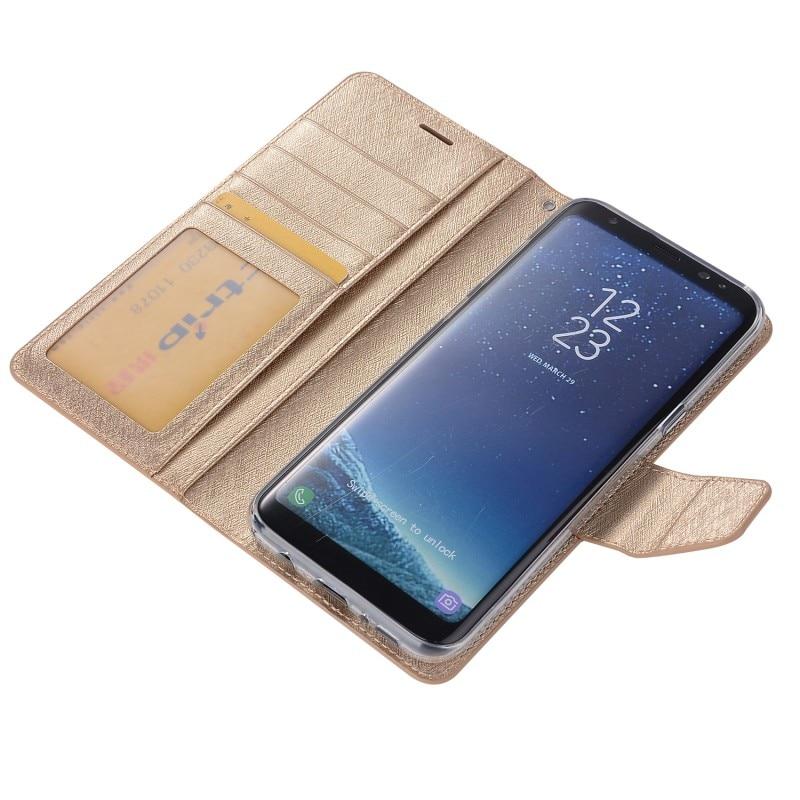 Luxe Brillant Brillant Portefeuille Carte soie pu Cuir Stand Magnétique Couverture cas Pour Samsung GALAXY S8 Plus Samsung S8 Cas avec stylo