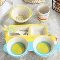 Amboo Fiber Children's Tableware Set Baby Feeding Plate Set Bowl Cup Spoon Fork 5pcs/sets Cartoon Car Baby Dinnerware Kids Dishe