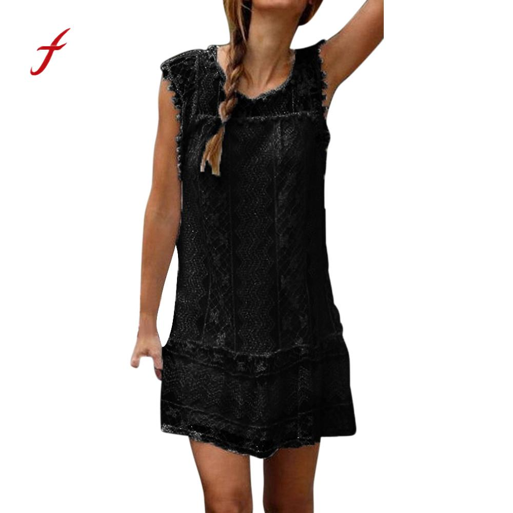 feitong summer sleeveless dress 2018 women casual lace