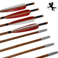 6 шт. ручной работы из бамбука стрелы из перьев индейки для изогнутый лук