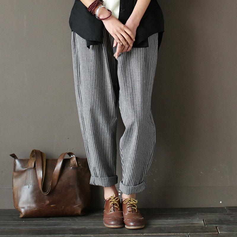Mujeres Pantalones algodón flojo ocasional Pantalones anchos cintura  elástica despojado imprimir mujeres Pantalones harem mujeres 3b2c825e55ed
