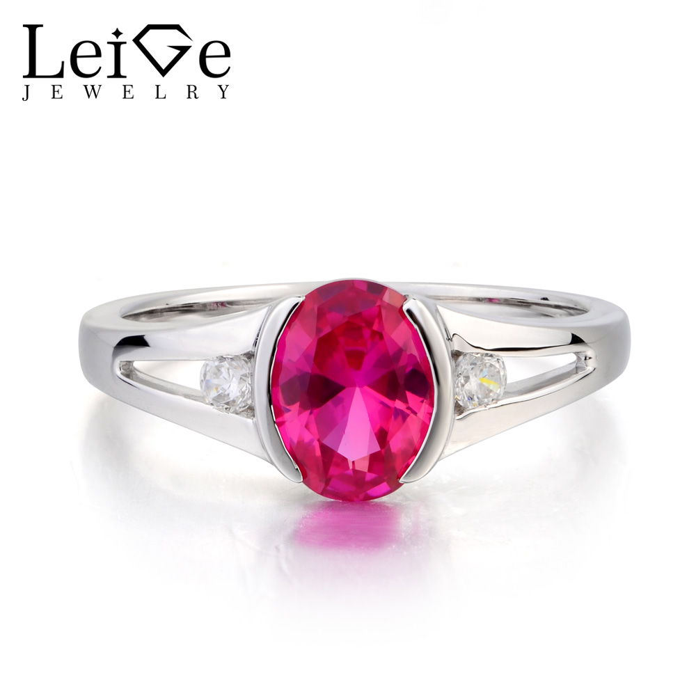 Leige Jewelry Lab Ruby Ring Anniversary Ring Oval Cut Red Gemstone July Birthstone Solid 925 Sterling Silver Ring Gifts for Her цена