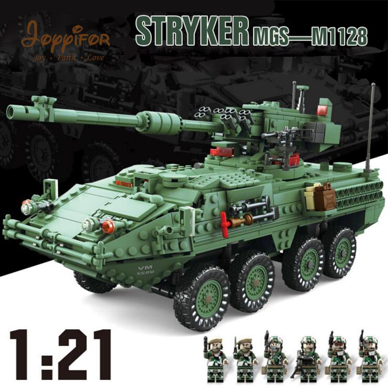 все цены на Joyyifor 1678PCS Century Military MGS-M1128 TANKS Minifigure Building Blocks set Armored vehicles DIY Bricks Toys for Children онлайн