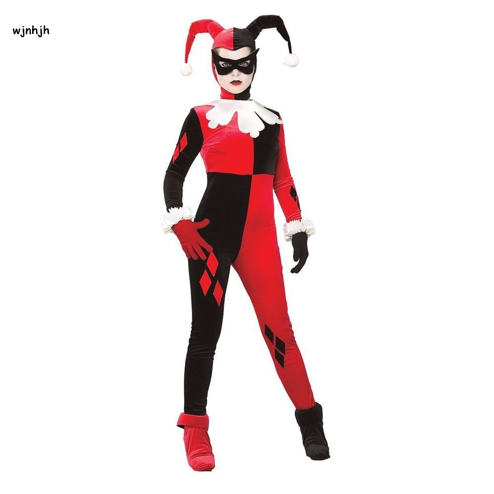 harley quinn costume women adult sexy superhero Clown cosplay spandex full bodysuit party costume fitted harlequin cosplay M XL