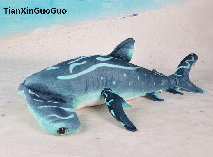 Requin marteau bleu peluche jouet grand 100 cm dessin animé requin doux poupée jeter oreiller cadeau d'anniversaire h0798