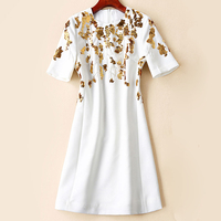 Red RoosaRosee Summer 2019 Runway Women's Dresses Bead Gold Sequin Short Sleeve Slim White Party Mini Dress Vestidos Robe Femme