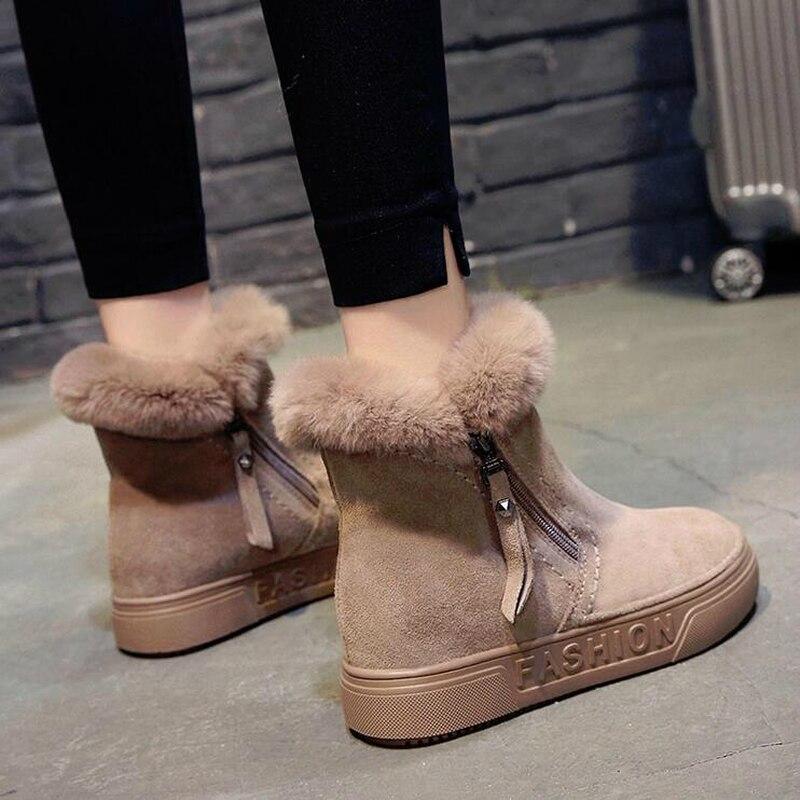 98b64148a Piel Negro Botines Conejo Mujer 2 Botas Mujeres Moda Caqui Nieve 2019  Inferior W46 Invierno De Gruesos Caliente La Nuevas Zapatos ...