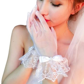 Women Bridal See Through Full Fingered Short Gloves White  Length Scalloped Geometric Lace Trim Bowknot Decor Wedding Party Bridal Gloves