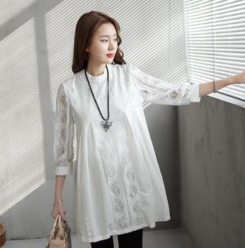 b45e38503 Moda frente plisado de encaje blanco de maternidad blusas 2019 Primavera  Verano ropa para mujeres embarazadas suelto embarazo Tops