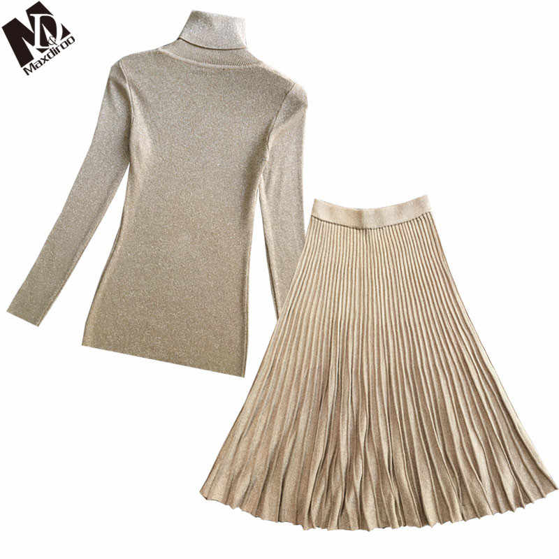 MAXDIROO Two Piece Set Women Pullover Sweater Top+High Waist Pleated Skirt Set  Turtleneck Pullover And A line Skirt Suits 2018