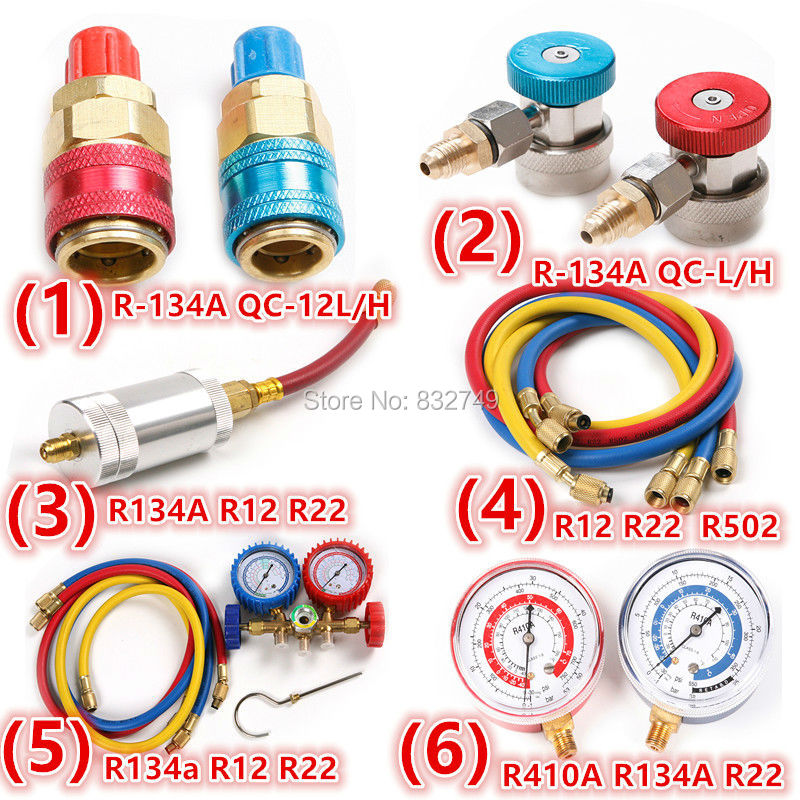 Car R134A/R12/R22 Air Conditioning Refrigerant Charging Hoses Quick Coupler Adjustable Oil&Dye Injector Manifold Gauge Set