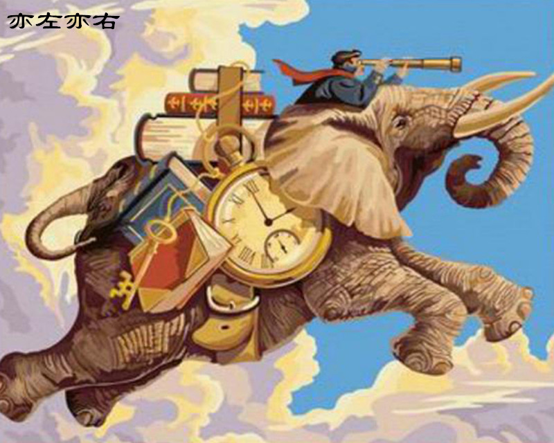 Time Traveler Elephant fly Animal DIY Digital Painting By Numbers Modern Wall Art Canvas Painting Unique Gift Home Decor 40x50cm