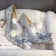 Новинка года; Туфли Золушки на высоком каблуке со стразами; женские туфли-лодочки; женские свадебные туфли с острым носком и кристаллами; Каблук 5 см/7 см/9 см