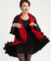2015 New Winter Dress Codes Large Jacquard Knitting Wool Ball Double Cardigan Cape Shawl Wholesale