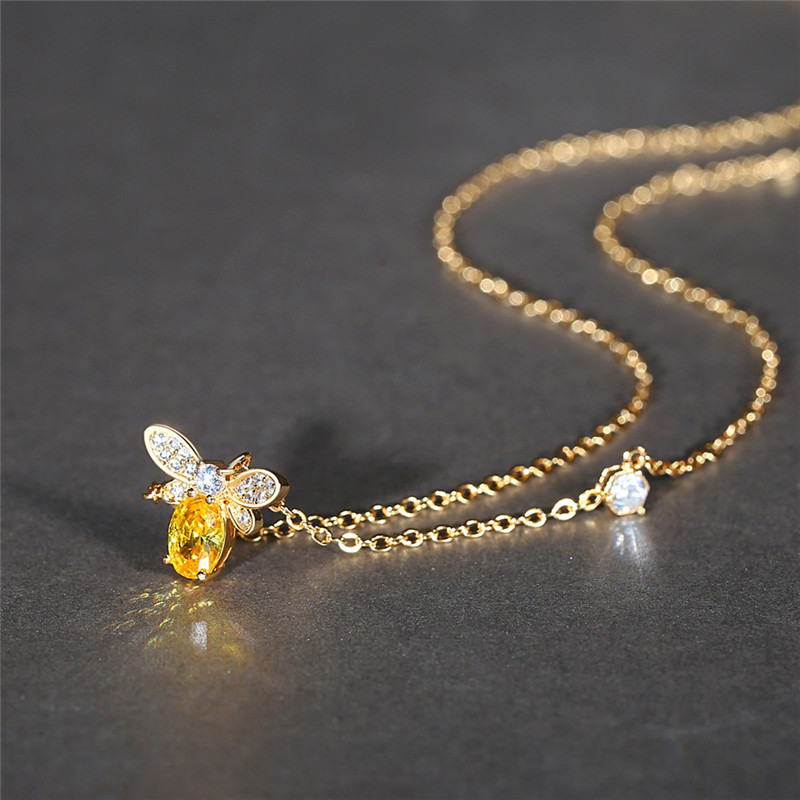 Hot Sale Bee Insect Pendant Necklace For Women Gift Champagne Zircon Gold Color Chain Necklace Party Engagement Choker Bijoux