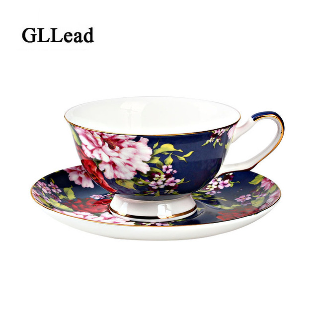 Gllead Western Style Bone China Coffee Cup Saucer Set Gold Plated Lace Ceramic Teacup Porcelain Afternoon Black Tea Cups